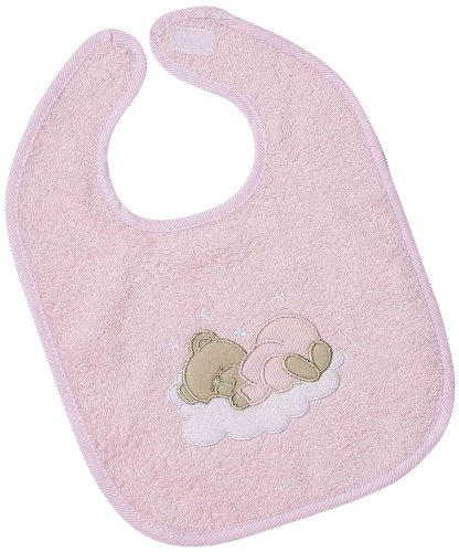 Easy Baby Bavoir avec attache en velcro Motif ourson endormi Rose