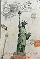 アメリカ雑貨 ブリキ看板 屋内用 ヴィンテージ風 レトロ風 アメリカン雑貨 ニューヨーク 自由の女神 ガレージ インテリア 壁飾り おしゃれ