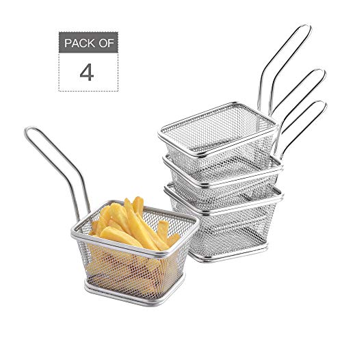 Velaze Edelstahl Frittierkörbchen Set, 4-teilig Mini Pommes Korb zum Servieren von Fritten, Pommes Frites, Zwiebelringe, Chicken Nuggets