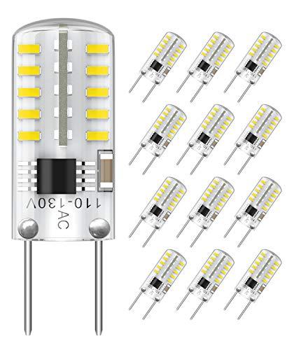 SHINESTAR 12-Pack Dimmable G8 LED Bulbs T4 Type, 20-25W Equivalent, 6000K Daylight, Bi-Pin G8 Base, LED Puck Light Bulbs for Under Cabinet, Under Counter Light Bulbs, Outdoor Landscape Light Bulbs