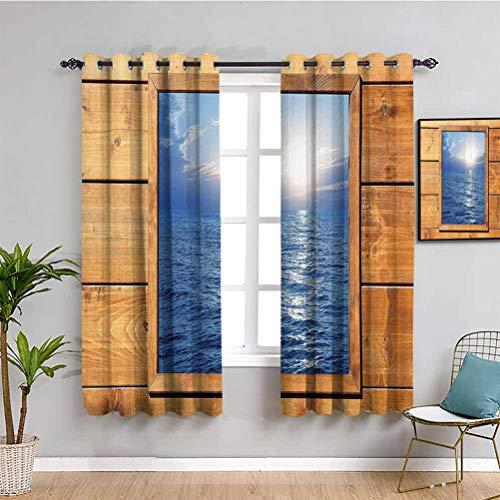 House Decor Collection - Cortina para niños con vista al mar de madera de roble cuadrado para habitación, luz del sol, impresión rústica, color azul Perú, 63 x 45 pulgadas
