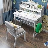 Goodvk Squisita scrivania per Bambini for Bambini scrivania Student Learning Desk Media Desk e Sedia - Ideale for 6, 7 e 8 Anno Olds (Colore : Bianca, Dimensione : 1M)