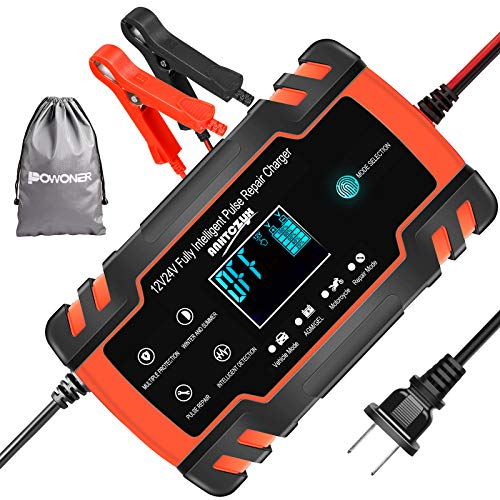 POWONER Car Battery Charger, 12V/8A 24V/4A Smart Automatic Battery Charger Maintainer/Pulse Repair Charger Pack for Car Truck Motorcycle Lawn Mower Boat (with a waterproof bag)