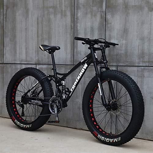 Bicicleta De Montaña De Neumáticos Gordos para Adultos, Bicicleta De Montaña Ruedas De 24 Pulgadas De 7 Velocidades, Suspensión De Bicicleta con Freno De Disco Doble,Negro