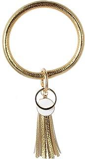 New PU Leather O Bracelet KeyChains Circle Tassel Wristlet Keychain for Women Girls