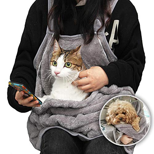 MOLLXZ 猫用エプロン 犬 キャリーバッグ 抱っこ紐 猫 ペット 抱っこ用エプロン 寝袋 カンガルー いつも一緒ポケット 飛び出し防止 ペットスリング ペット用品 (ダークグレー)