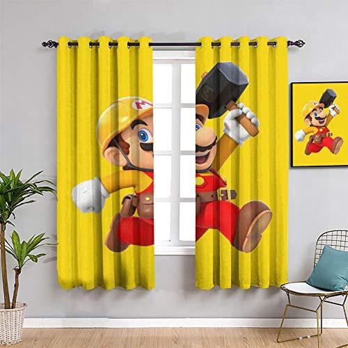 Juegos y anime Super Mario - Cortinas opacas de eficiencia energética Super Mario para la habitación de las niñas (42 x 72 pulgadas)