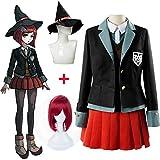 KTZAJO Yumeno Himiko Cosplay Disfraz Danganronpa V3 Cosplay peluca JK Uniforme Set Halloween Hombre Mujer Disfraces Mago (Color: Conjunto completo, Tamaño: XXXL)