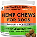 GOODGROWLIES Hemp Hip & Joint Supplement for Dogs Glucosamine, Chondroitin, MSM, Turmeric, Hemp Seed Oil & Hemp Protein for Joint Pain Relief & Mobility 120 Soft Chews Bacon Flavor
