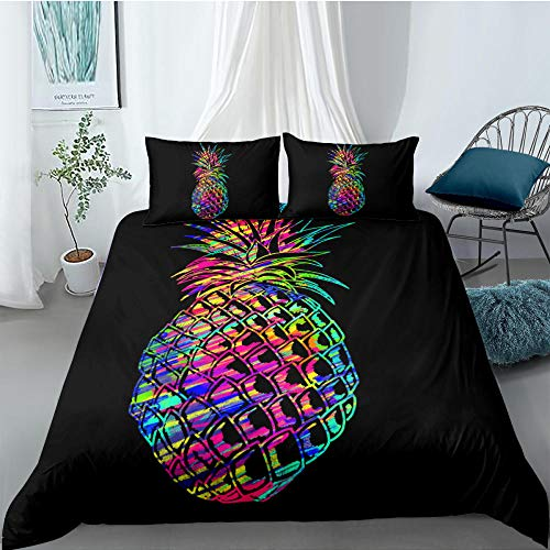 ACVMF Printed Duvet Cover Colorful Fruit Pineapple Bedding Set 3 pcs (1x Duvet Cover and 2 x Pillowcases) 100% Polyester Microfiber Quilt Cover Sets For adults children 55.12 x 78.74 inch