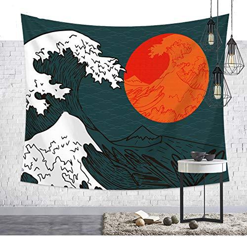 Tapiz de pared japonés de la gran ola de Kanagawa Ukiyoe, gran ola Fuji Berg, color rojo, sol, pintura, pared colgante, tapiz tradicional, folclore de pared, decoración de pared 79 * 59in multicolor