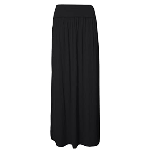 88a602bf0 Womens Gypsy Fold Over Waist Maxi Full Length Jersey Ladies Long Maxi Skirts  8-26