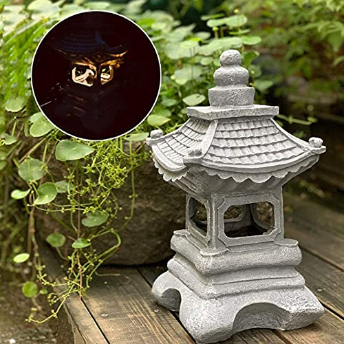 LED al Aire Libre LED Pagoda japonés Linterna, Zen Jardín Luces Escultura, Linterna Pagoda Jardín Luz Lámpara Solar Lámpara de Granja Balcón Estatua Decoración Creativa
