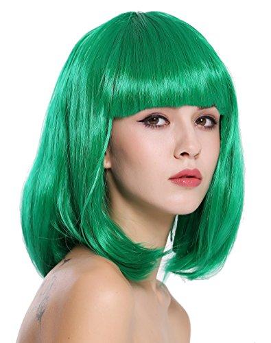 WIG ME UP ® - 0073-3-PC18 Parrucca Donna Carnevale Bob Lungo Bob Altezza Spalle Liscia Frangetta Verde