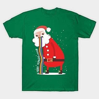 SEXYTOP Men Junior Boy Unisex Christmas Short Sleeve T-Shirt Novelty Top with Funny Santa Print Casual Xmas Lovers Shirt