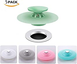 Mribo 5 Packs Trap Hair Catcher Bathtub 2-in-1 Silicone Drain Tub Stopper, Strainers for Floor, Kitchen, Laundry, and Bathroom