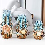 Geschnitzte Kerze mit Muscheln - Blaue und braune Kerzen - Kerzensatz - dekorative Kerze