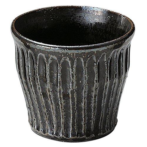 信楽焼 へちもん ロックカップ 黒釉彫