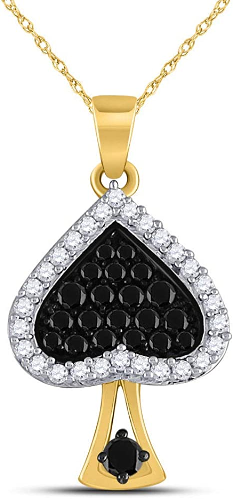 10kt Trust Yellow Gold Womens Round Enhanced Diamond Black Color Spade Max 53% OFF