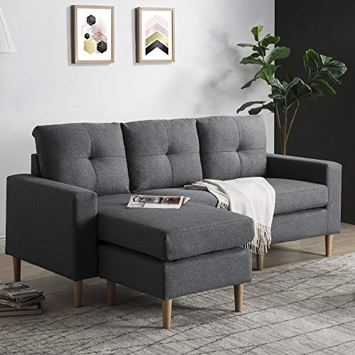 Leisure Zone Fabric Corner Sofa Couch L Shape Sofa Settee, 3 Seater Sofa with Lounge Ottoman, Left & Right Hand Side for Living Room Furniture (Grey Sofa with Footstool)