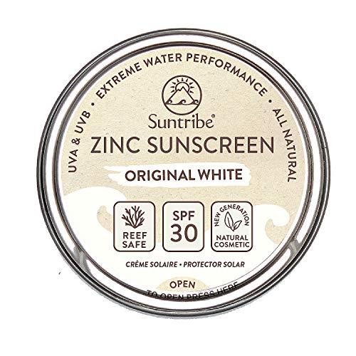 Suntribe Bio-Zinksonnencreme LSF 30 - Reef Safe & Biologisch abbaubar - Mineralischer UV-Filter (Nanofreies Zinkoxid) - Sehr wasserfest - Surf & Sport - 3 Inhaltsstoffe - Original Weiß (45 g)