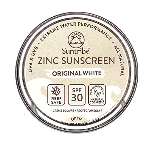 Protector Solar Natural de Zinc Cara & Deporte Suntribe - FPS 30 - Biodegradable / Reef Safe - Òxido de Zinc (Filtro UV mineral) - Muy resistente al agua - 3 Ingredientes - BLANCO ORIGINAL (45 g)