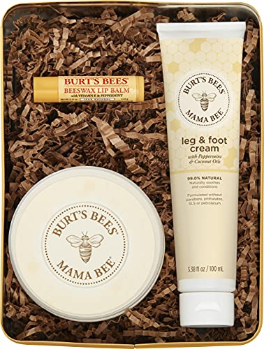 Burt's Bees Mama Bee Gift Set with Tin, 3 Pregnancy Skin Care Products - Leg & Foot Cream, Belly Butter and Original Beeswax Lip Balm