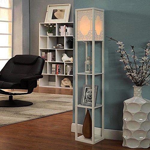 Guolipin Lámpara de pie con Estante, 3 capas de madera Estantería de pie de luz, lámpara de lectura moderna for el dormitorio, sala de estar, oficina, casa decoración minimalista de Europa (sin bombil