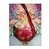 Sala de estar Decoración para el hogar Arte de la pared Impresión Lienzo Pintura Red Wine Glass Resumen Decorativo 60x80cm Con marco rojo