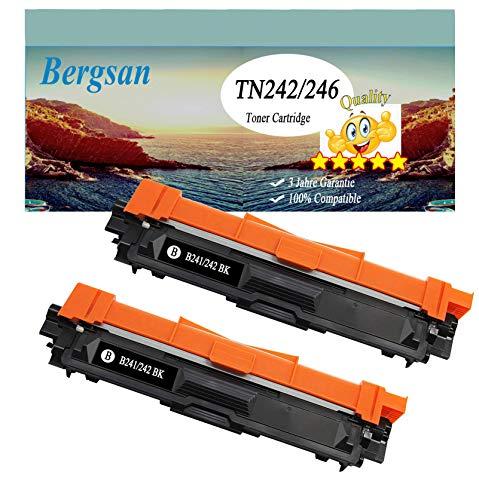 Bergsan 2 Toner XL Kompatibel zu TN-242 TN-246 für Brother DCP-9017CDW DCP-9022CDW MFC-9142CDN MFC-9332CDW MFC-9342CDW HL-3142CW HL-3152CDW HL-3172CDW Ersatz für TN-242BK Schwarz