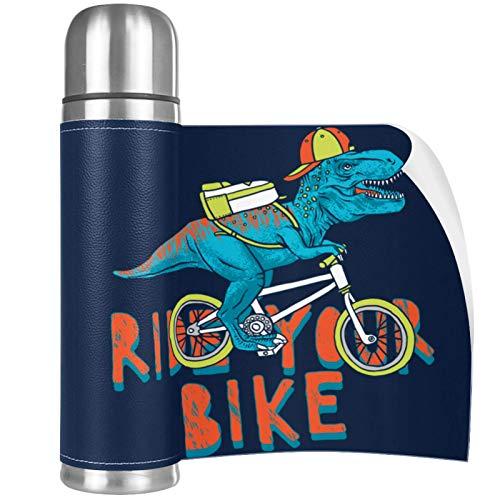 Termo Taza 500ML Bicicleta de dinosaurio Travel Mug Frasco de Vacío de Acero Inoxidable Termo Con tapa Aislado al Vacío 26x6.7cm