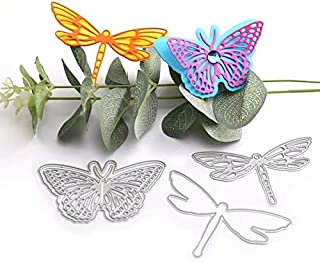 WYSE Butterfly Dragonfly Metal Cutting Die Flower Dies for DIY Scrapbooking Paper Card Template (4pcs Butterfly Dragonfly)