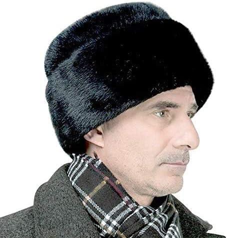 100/% Real Mink Fur Hat Thicken Winter Warm Cap Horseman Hat Peaked Cap for Men