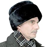 Fascharmy Men's Faux Mink Fur Hat Russian Cossak Winter Warm Hat Ski Cap Large Size Black 60-61cm