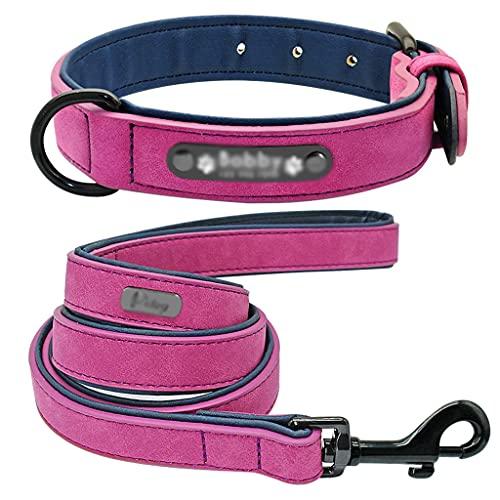HBAO Collar y correa de perro personalizados Collares de perro grabados acolchados de cuero Juego de cuerdas de plomo Bulldog Pitbull (Color : E, Size : M code)