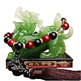 Prime Feng Shui - Statue de Pi Xiu à trois yeux en résine avec base en cristal et perles Pixiu - Attire la richesse et la bonne chance - Décoration pour la maison, le bureau, la voiture (vert, XL)