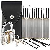 Nanssigy Juego de ganzúas, 15 piezas, herramientas de práctica para picar cerraduras con un cierre transparente de entrenamiento para principiantes y cerrajeros