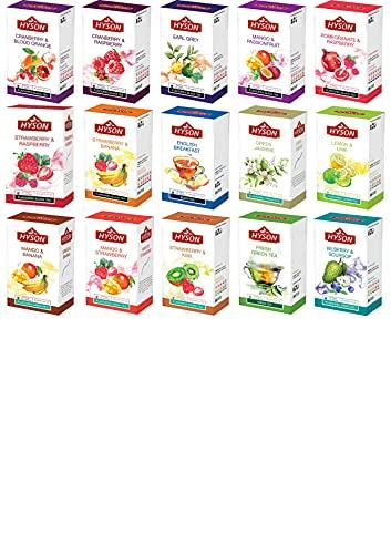 HYSON TEE - GESCHENKSET / TEESET / PROBIERSET mit 15 verschiedenen Teesorten mit jeweils 20 Teebeutel pro Sorte (15 Teesorten x 20 Teebeutel pro Sorte = 300 Teebeutel insgesamt)