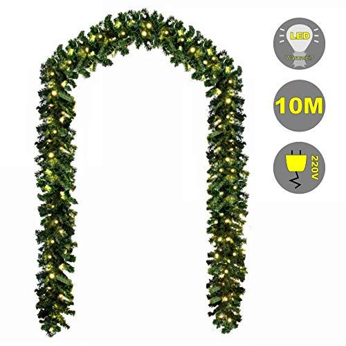 Baunsal GmbH & Co.KG Weihnachtsgirlande Tannengirlande Girlande grün 10 m und Lichterkette mit LEDs