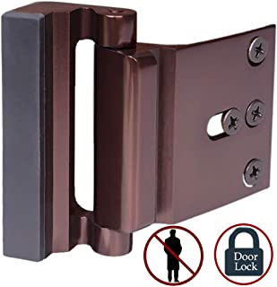 Door Lock Child Proof, Home Security Door Reinforcement Lock Withstand 800 lbs Door Latch Double Safety Security Protection for Your Home (Bronze Door Security Lock)