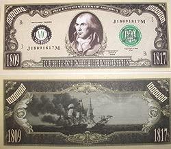 American Art Classics Set of 100-president James Madison Million Dollar Bill