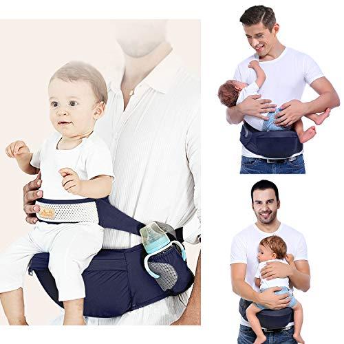 Viedouce Portabebé Ergonómico Asiento de Cadera,con Protección del Cinturón la Seguridad,Algodón Puro Ligero,Taburete de Cintura de Posición Múltiple por Bebé Niños 3-48 Meses(Azul Oscuro)