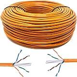 Mr. Tronic 50m Cable de Instalación Red Ethernet Bobina | CAT6, AWG24, CCA, UTP (50 Metros, Naranja)