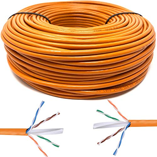 Mr. Tronic 100m Cable de Instalación Red Ethernet Bobina | CAT6, AWG24, CCA, UTP (100 Metros, Naranja)