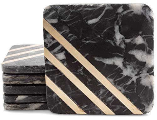 Cork & Mill Posavasos de mármol para bebidas, hechos a mano, posavasos cuadrados de 4 cm, de mármol negro con incrustaciones de latón dorado, hechos de mármol sólido real, juego de 6