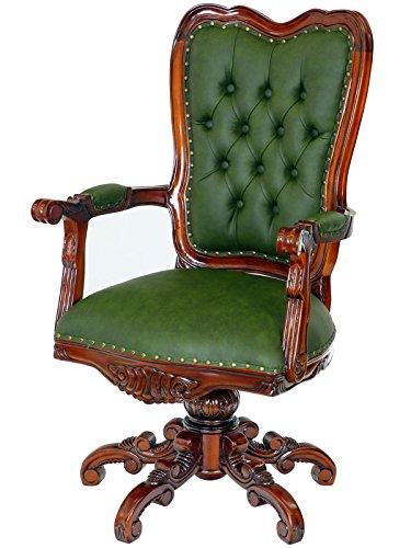 MOREKO Massiv-Holz Drehstuhl Mahagoni Bürostuhl Antik-Stil Schreibtisch-Stuhl grün