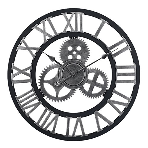 OviTop 60cm Orologio da Parete Orologio da Muro Silenzioso Industriale Decorativi Design Gigante Orologio da Muro per Cucina, Camera da Letto o Studio-Argento.