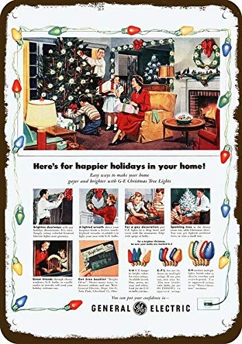NDTS 1950 General Electric Vintage Look Replica Metal Sign - Ge Christmas Tree Lights Aluminum Metal Sign 12x16 INCHES