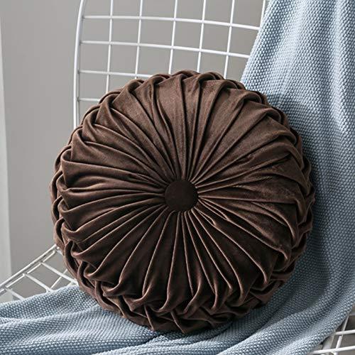Hoomall Cojín redondo de terciopelo para el sofá, la cama, el coche (marrón)