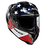 LS2 Helmets Challenger Carbon GT Americarbon Helmet (Red/Gloss White/Blue - X-Large)